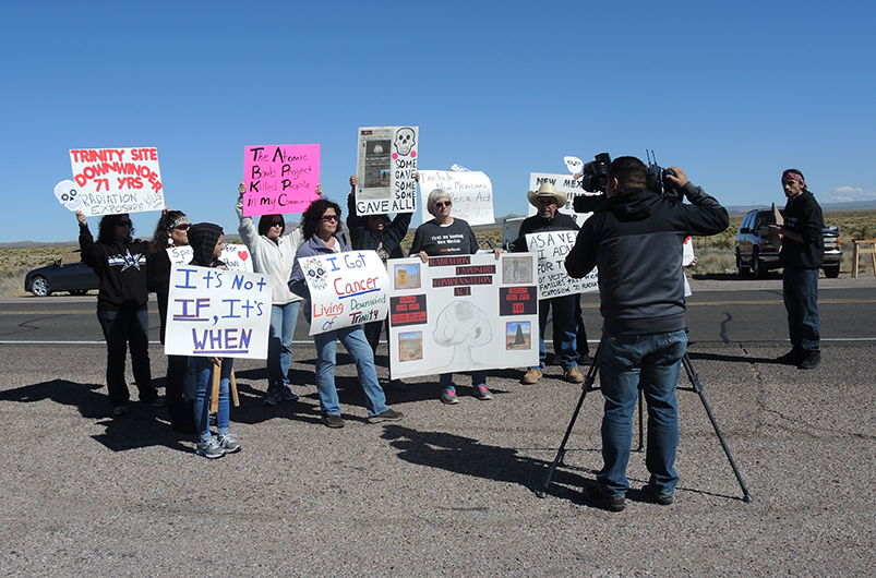 'Downwinders' protesting at the gate of White Sands Missile Range, US
