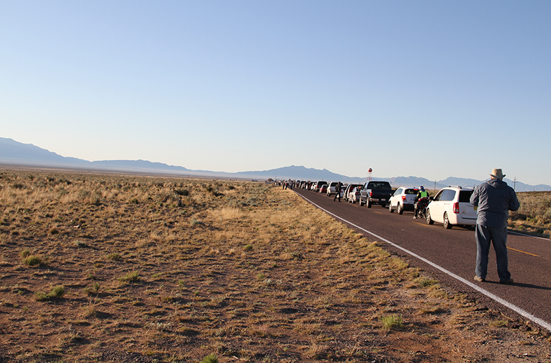 Traffic jam to visit Trinity test site, White Sands Missile Range, US